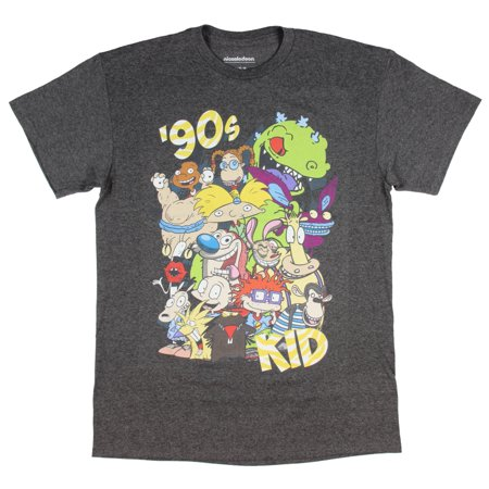 Nickelodeon Men's 90's Kid Rugrats Hey Arnold! Ren & Stimpy Character T-Shirt for $<!---->