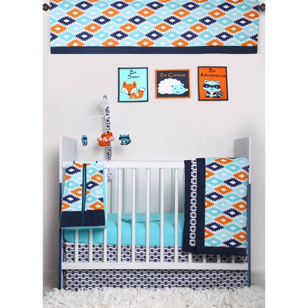 Retro Circles Crib Bedding - Bacati - Liam Aztec Aqua/Orange/Navy 10-Piece Nursery in a Bag Crib Bedding Set 100% Cotton Percale Unisex Crib Bedding Set with 2 crib fitted sheets