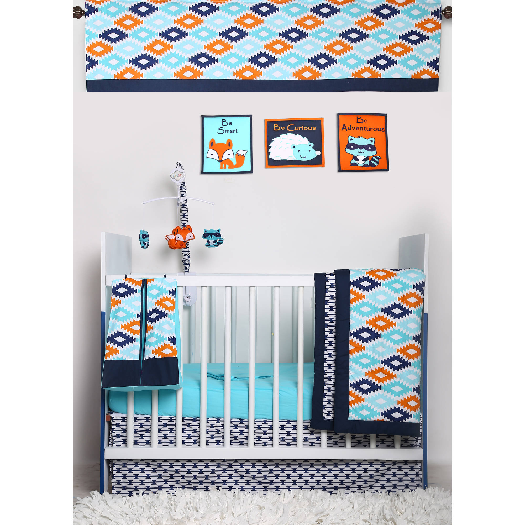 Bacati - Liam Aztec Aqua/Orange/Navy 10-Piece Nursery in a Bag Crib Bedding Set 100% Cotton Percale Unisex Crib Bedding Set with 2 crib fitted sheets