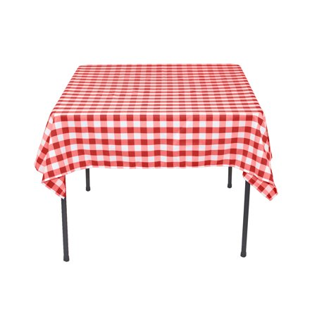 54 in. Square Polyester Tablecloth Red & White Checkered - Red Checked Tablecloth