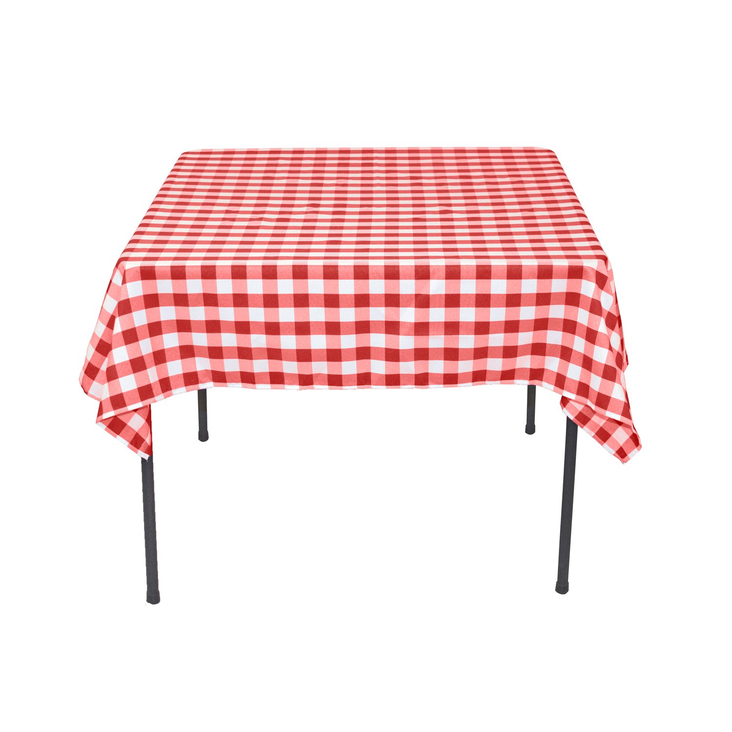 Merveilleux Square Polyester Tablecloth Red U0026amp; White Checkered