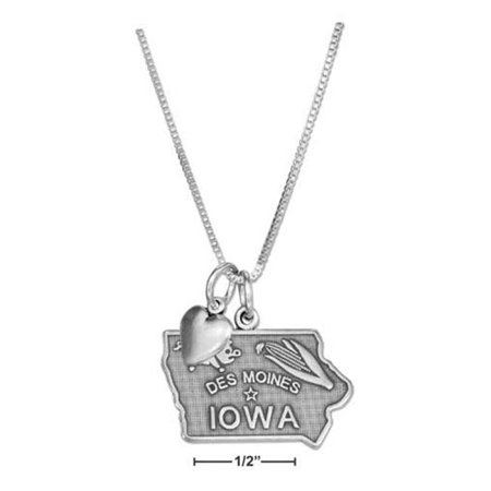 Iowa State Charm (18 in. Sterling Silver Iowa State Pendant Necklace with Heart Charm )