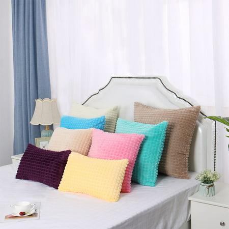 "Faux Fur Plush Throw Pillow Cover Fluffy Cushion Cover Sofa 2pcs(20""x20"", Cyan) - image 8 of 10"