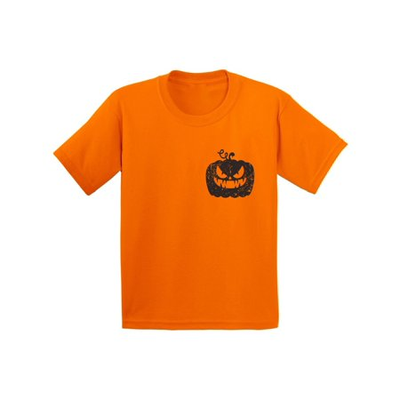 Awkward Styles Jack-O'-Lantern Pumpkin Pocket Tshirt Halloween Pumpkin T Shirt Halloween Shirt for Kids Gifts for Halloween Spooky Shirt Scary Pumpkin Tshirt Kids Halloween T-Shirt Pumpkin Face Shirt