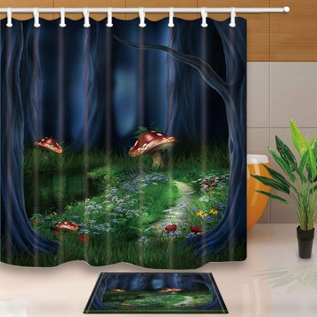 RYLABLUE Fairy Tale Forest Red Mushroom with Flowers in Grass for Kids Shower Curtain 66x72 inches with Floor Doormat Bath Rugs 15.7x23.6 inches - image 1 de 1