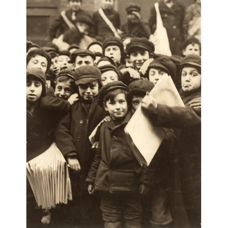 Hine Newsboy 1910 Na Group Of Newsboys In Front Of The Paper Office At Bank Alley In Syracuse New York Photograph By Lewis Hine February 1910 Rolled Canvas Art     18 X 24