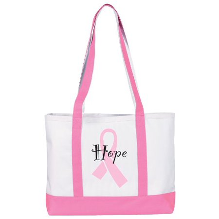 Prestige Medical Canvas Tote Bag, Pink Ribbon Hope, Large