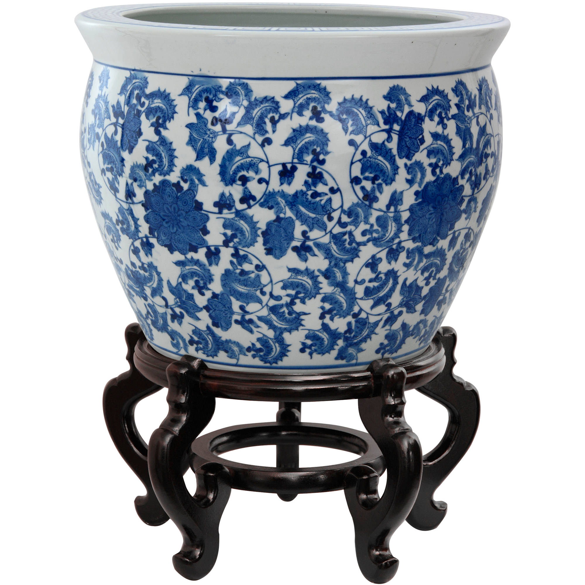 "14"" Floral Blue & White Porcelain Fishbowl by Oriental Furniture"