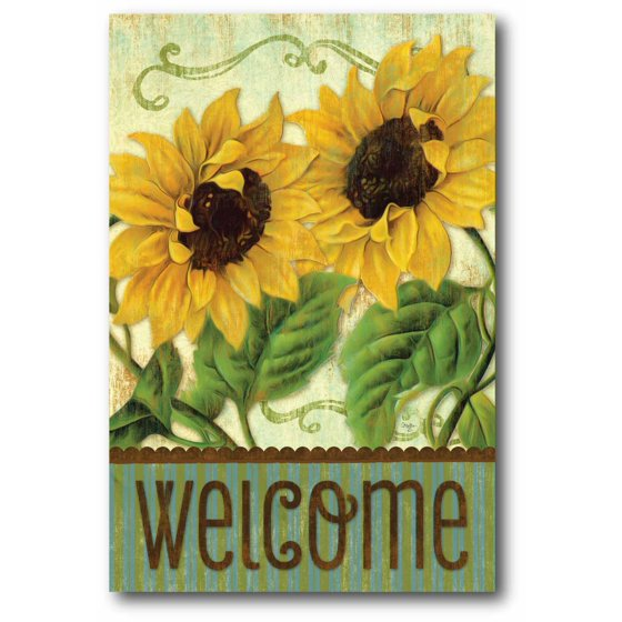 Sunflower Welcome Gallery-Wrapped Canvas Wall Art, 12x18 - Walmart.com