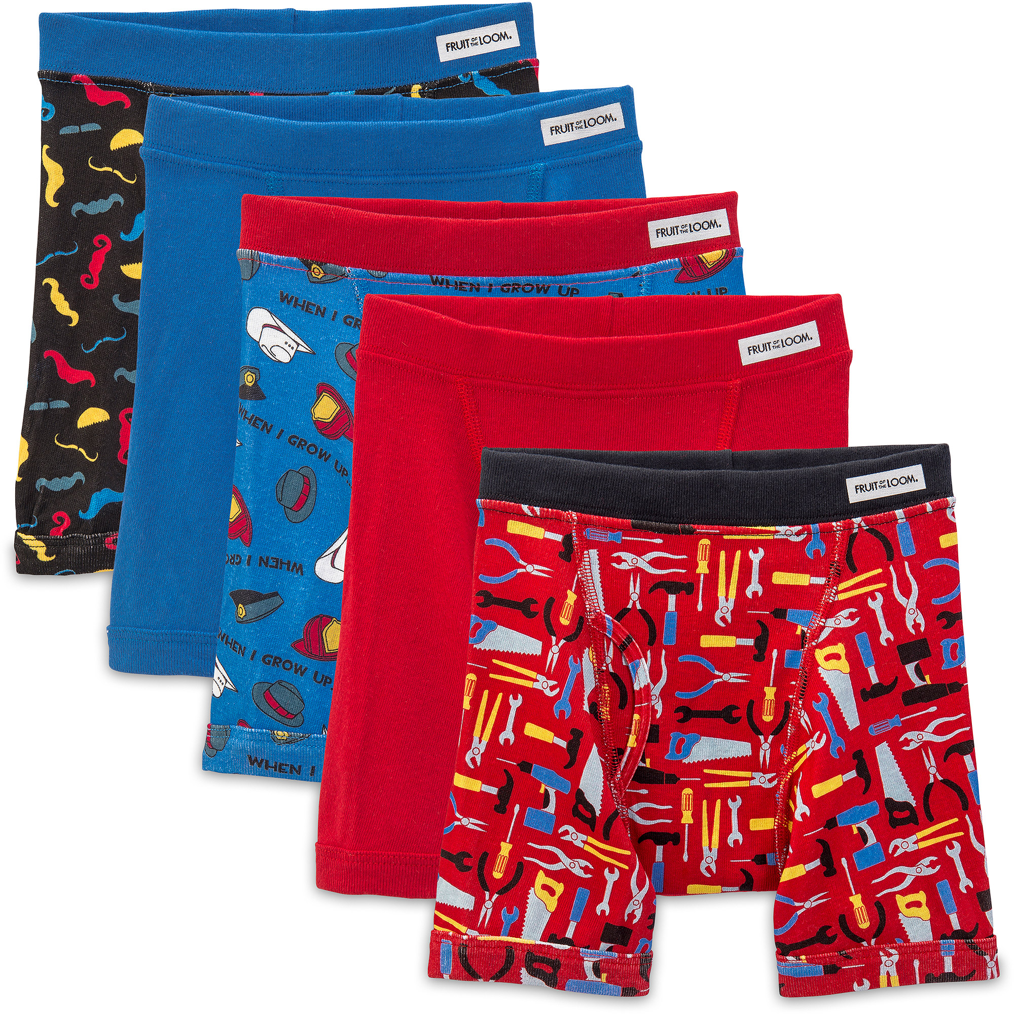 Fruit of the Loom Toddler Boy Covered Waistband Boxer Briefs, 5-Pack