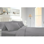 Clara Clark 1800 Series Deep Pocket 4pc Bed Sheet Set King Size, Silver Light Gray