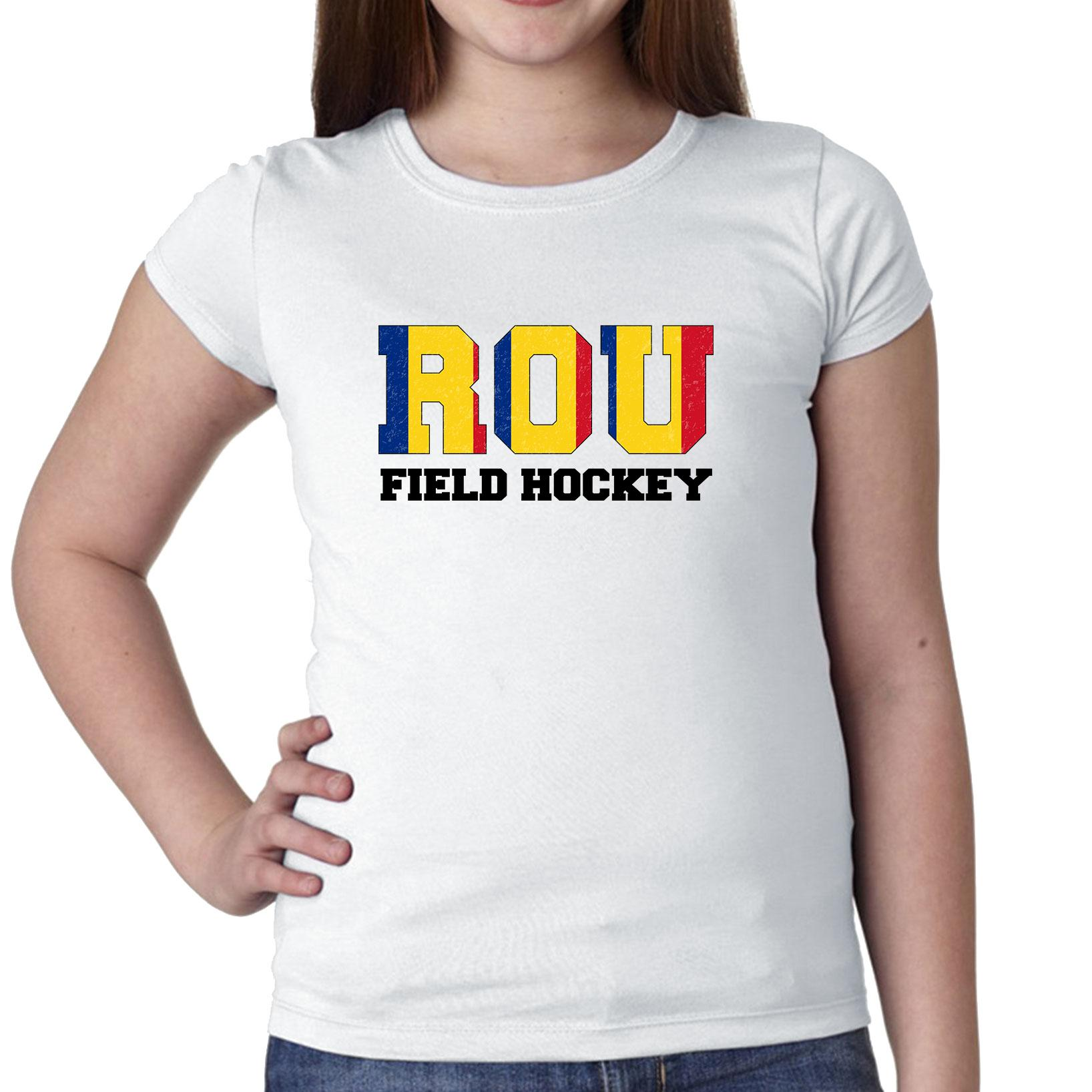 Romania Hockey Olympic Games Rio Flag Girl's Cotton Youth T-Shirt by Hollywood Thread