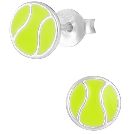 Hypoallergenic Sterling Silver Tennis Ball Sports Stud Earrings for Kids (Nickel Free) Sports Tennis Earrings