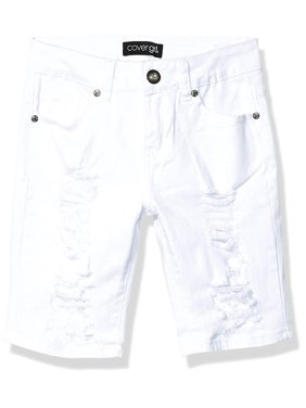 Cover Girl Ripped Bermuda Shorts Distressed Destroyed Juniors Size, White Denim, 24 Plus