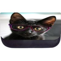 """Kitten in Purple Glasses 5"""" x 8.5"""" Black Multi-Purpose Cosmetic Case - with 2 Zippered Pockets and Nylon Lining"""