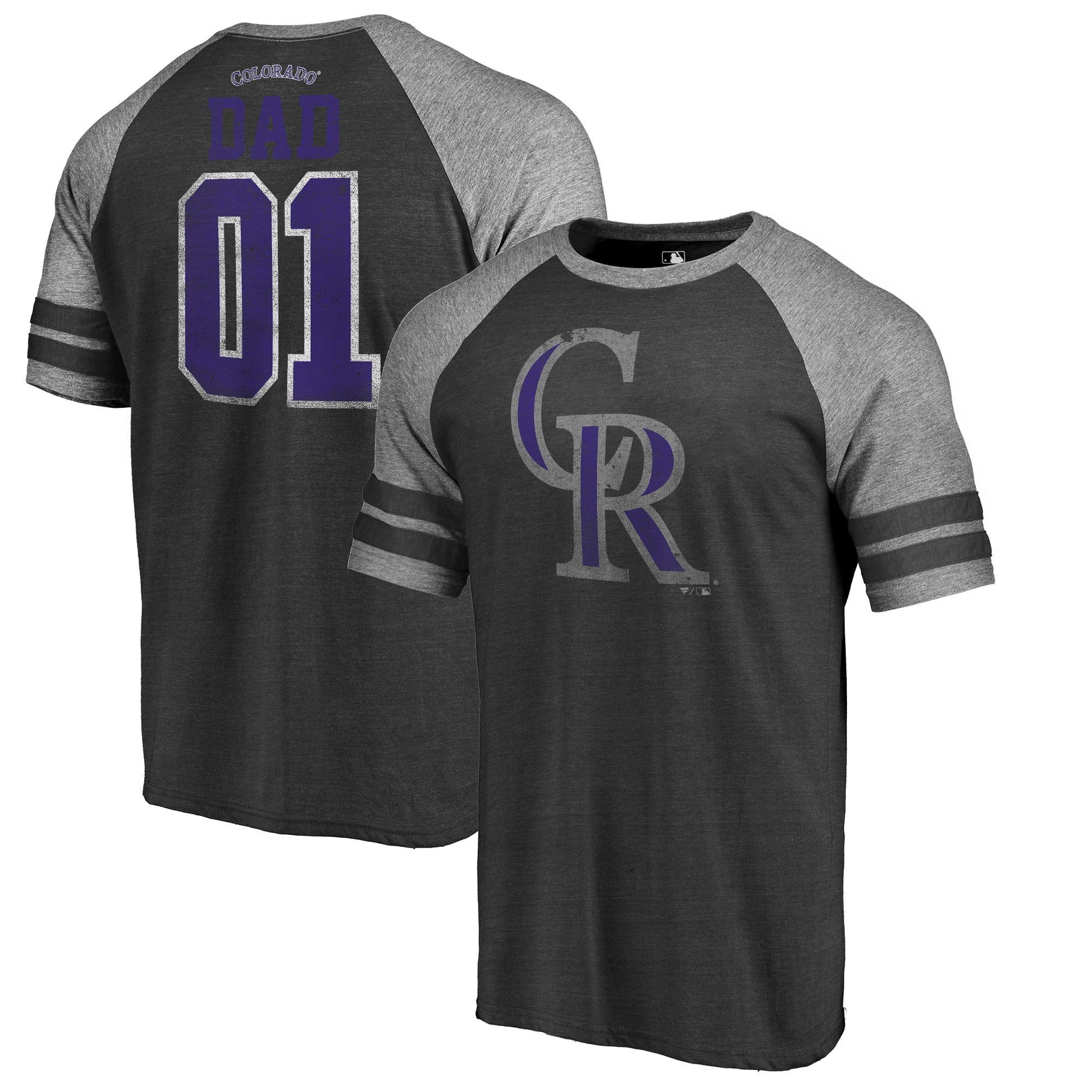 Colorado Rockies Fanatics Branded 2018 Father's Day Greatest Dad Two Stripe Raglan Tri-Blend T-Shirt - Black