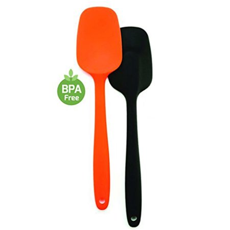 Ovente BPA-Free Premium Silicone Spatulas with Stainless Steel Core, 500?F Heat-Resistant, Non-Stick, Dishwasher Safe, Ergonomic Design, Multi-Color ? Black,Orange (SP2002BO)