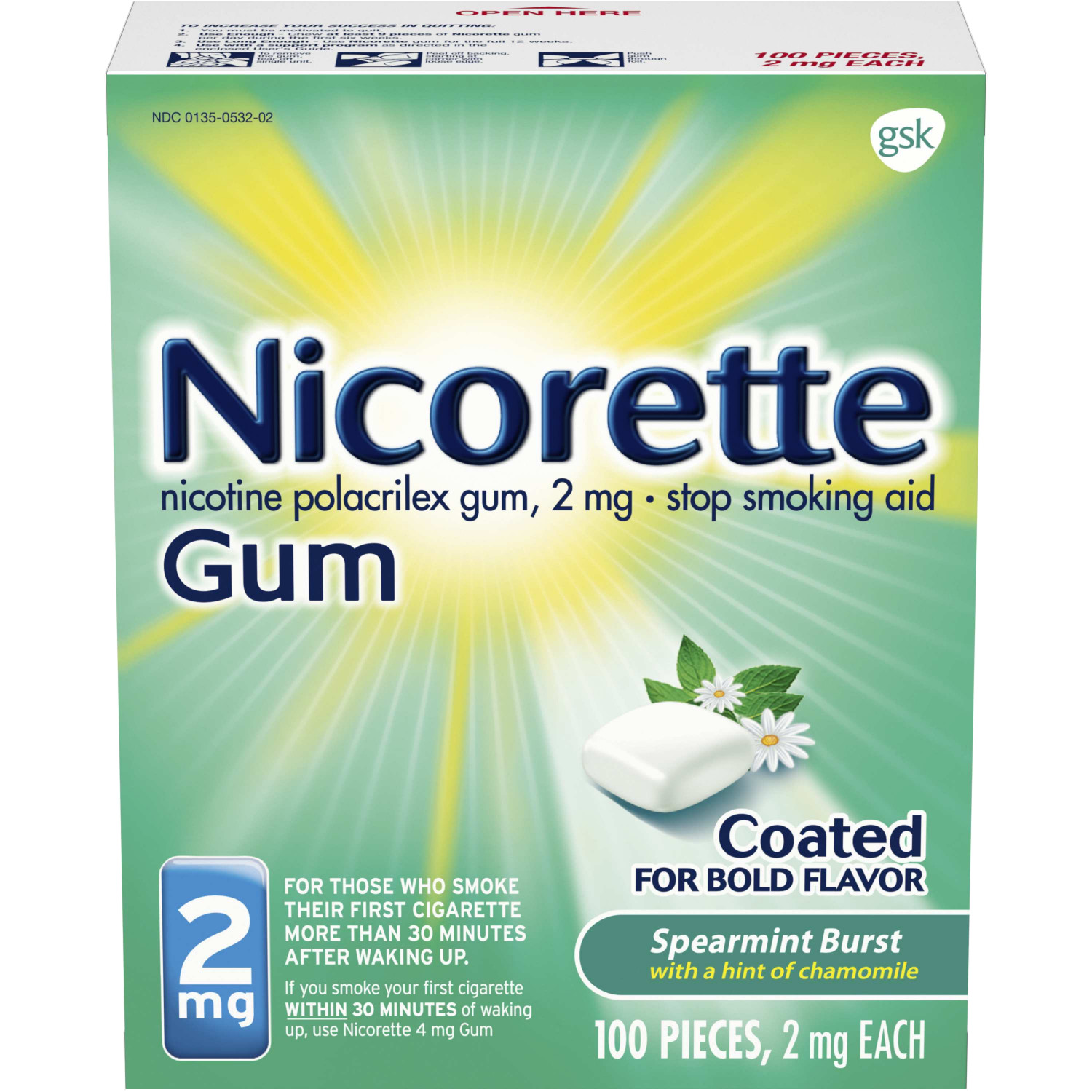 Nicorette Nicotine Gum Spearmint Flavor Coated 2 mg Stop Smoking Aid, 100 count