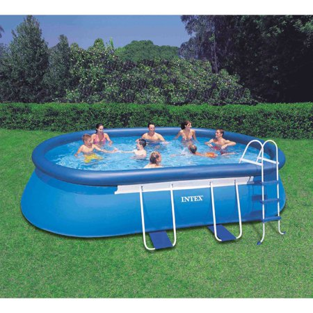 Intex 18 39 x 10 39 x 42 oval frame swimming pool for Quick up pool oval