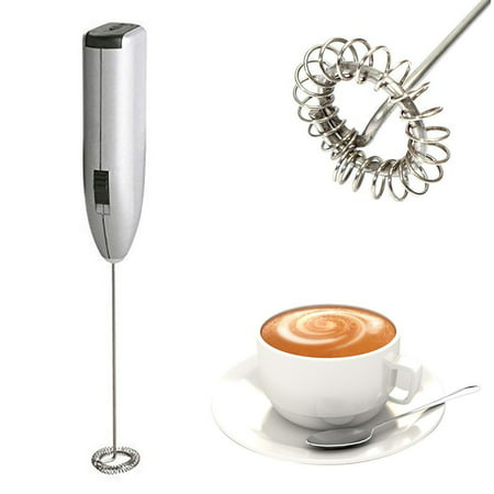 Juslike Portable Drink Mixer and Milk Frother Wand Small Handheld Electric Stick Blender, Silver