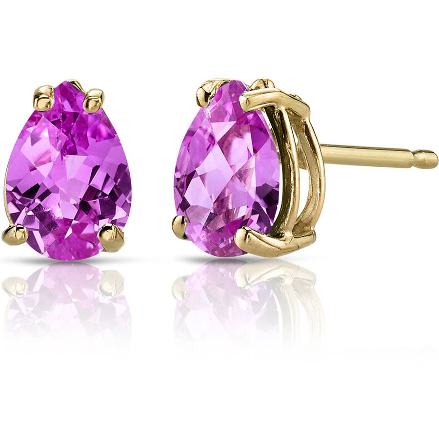 Oravo 1.75 Carat T.G.W. Pear-Shape Created Pink Sapphire 14kt Yellow Gold Stud Earrings by Oravo