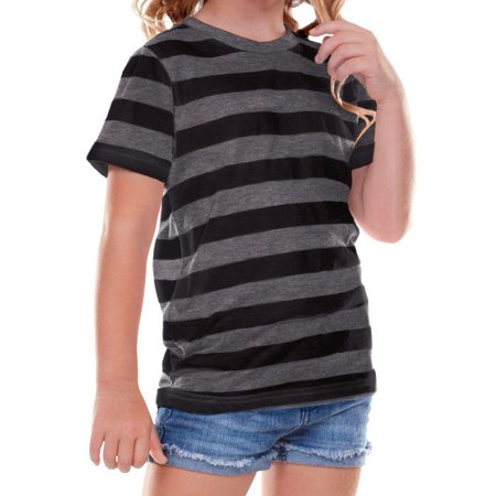 kavio! toddlers striped jersey crew neck short sleeve tee striped heather/black