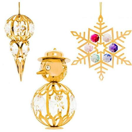 Matashi Crystal 3 Piece Snow Ornament Set