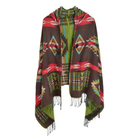 Premium Geometric Aztec Toggle Closure Fringe Hooded Poncho Wrap - Brown Poncho