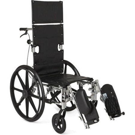 "Medline Excel Reclining Wheelchair, 16"" Wide Seat, Desk-Length Removable Arms, Elevating Leg Rests"