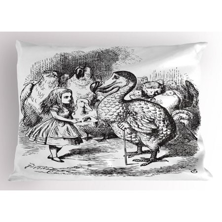 Kids Pillow Sham Alice in Wonderland with Dodo Animal Adventures Big Bird Sketch Children Theme, Decorative Standard Size Printed Pillowcase, 26 X 20 Inches, Black and White, by Ambesonne](Wonderland Prom Theme)