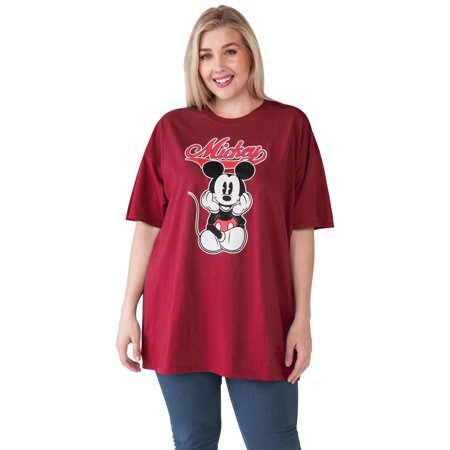 Women's Plus Size Mickey Mouse Varsity T-Shirt - Cardinal Red