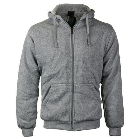 Mens Premium Athletic Soft Sherpa Lined Fleece Zip Up Hoodie