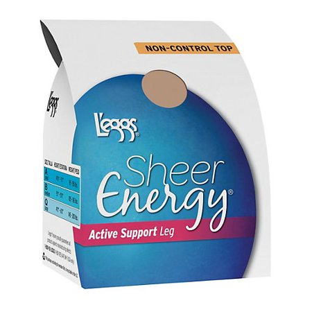 Plus Size Support Pantyhose - L'eggs Sheer Energy Active Support Regular, Sheer Toe Pantyhose 4-Pack