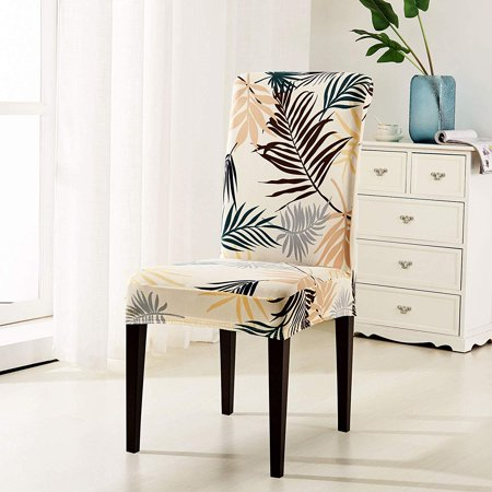 Subrtex Printed Leaf Stretchable Dining Room Chair Slipcover (4 Pcs, Yellow) ()