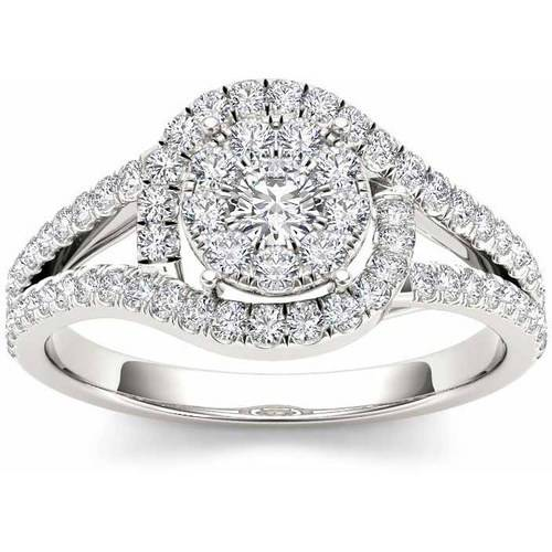 Imperial 3/8 Carat T.W. Diamond Split Shank Cluster Halo 10kt White Gold Engagement Ring