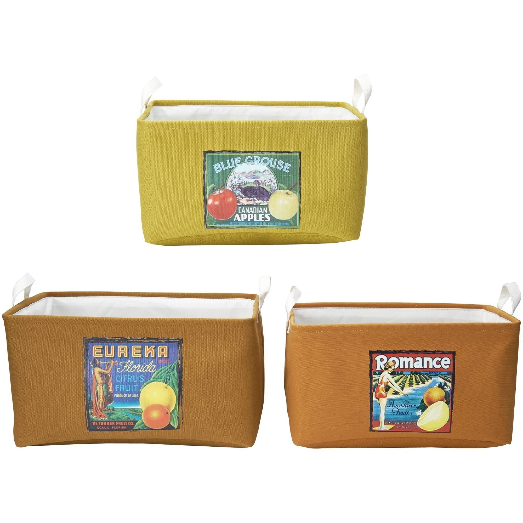Elements Set of 3 Nesting Fruit Labels Storage Baskets