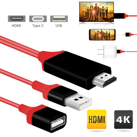 Type C USB C to HDMI Adapter Cable,EEEkit 3 in 1 Digital to HDMI Cable Cord,Mirror Mobile Phone Screen to TV HDTV Projector,1080P Miracast AirPlay Compatible with iPhone iPad iPod Android (Ipad 3 To Tv Cable)