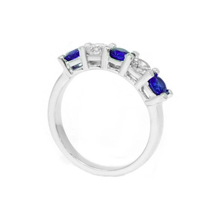 1.00Ct Genuine Blue Sapphire & Natural Diamond 5-Stone Ring 14K White Gold - image 1 de 2