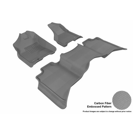 3D MAXpider 2009-2012 Dodge Ram 1500 Crew Cab Front & Second Row Set All Weather Floor Liners in Gray with Carbon Fiber Look Cab Grey Front Floor Liners