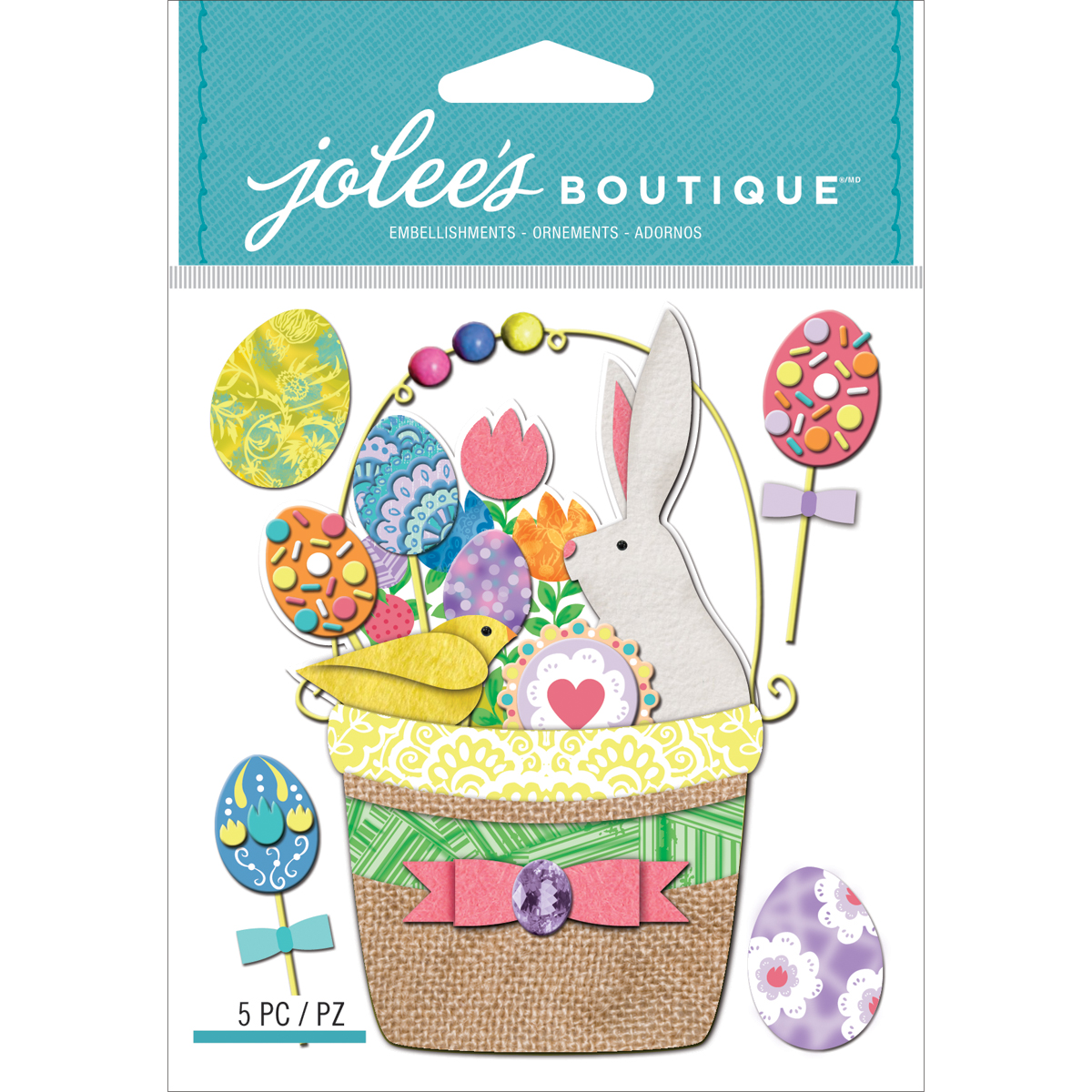 Jolees Boutique Dimensional Stickers, Easter Basket Multi-Colored