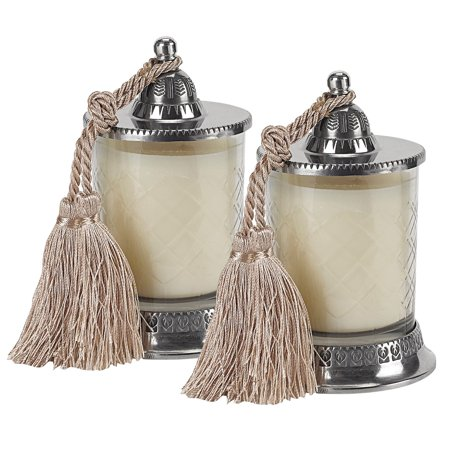 Knot Candle Set (Badash Hand Cut Vanilla Scented Candle Jar with Silk Knotted Tassel - Set of)