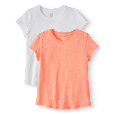 Wonder Nation Crew Neck T-Shirts, 2-Pack (Little Girls, Big Girls, & Plus)