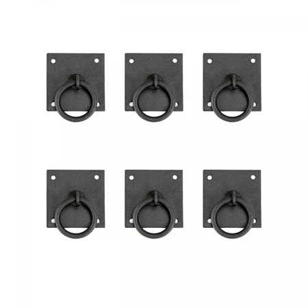 """6 Cabinet Ring Pull Mission Black Wrought Iron 1 3/4"""" 