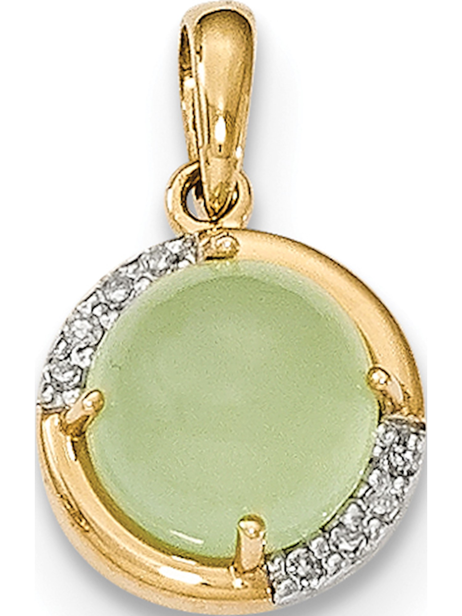 14k Yellow Gold Green Chalcedony and Diamond Pendant   Charm by