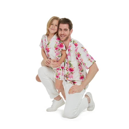 Matching Father Son Hawaiian Luau Outfit Men Shirt Boy Shirt Only Pink Hibiscus Vine M-12