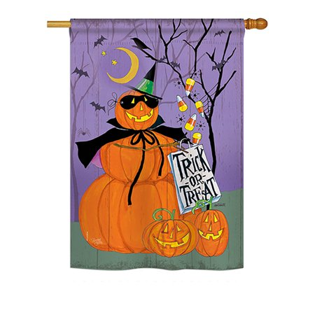 Breeze Decor - Happy Pumpkin Trio Fall - Seasonal Halloween Impressions Decorative Vertical House Flag 28