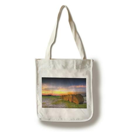 Hay Bales & Sunset - Lantern Press Photography (100% Cotton Tote Bag - Reusable) (Hay Bale Bag)