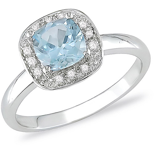 10kt White Gold .05ct TDW 6mm Square Cushion Blue Topaz Ring