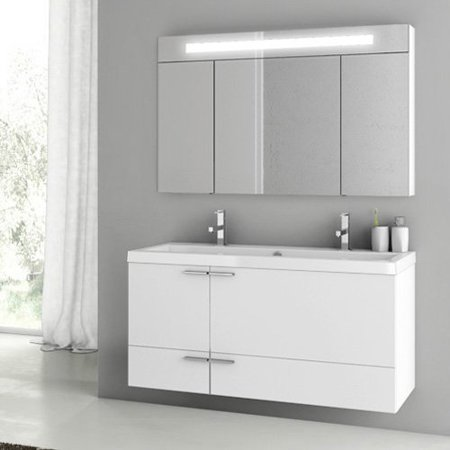 ACF by Nameeks ACF ANS10-GW New Space 47-in. Double Bathroom Vanity Set - Glossy White