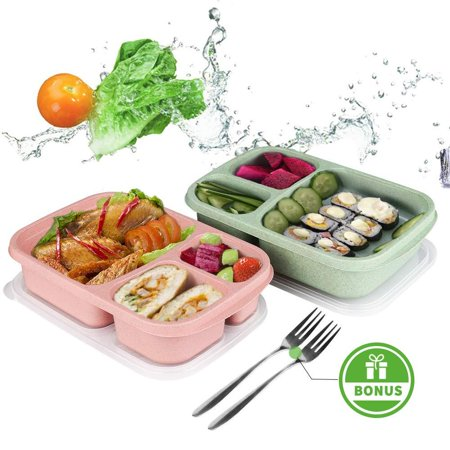 Bento Lunch Box,Food Storage Containers with Airtight Lids, 3 Compartment Plastic Divided Food Storage Container Boxes for Kids & Adults Set of 2 Pack Pink & Green